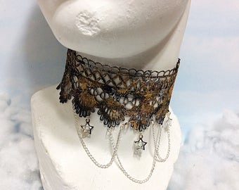 Gold black seashell lace choker gold lace necklace steampunk necklace Victorian lace neckpiece lace choker goth choker Victorian gold choker