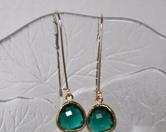 Emerald Green Earrings,  Gold Earrings,  Dangle Earrings, Gold Filled Ear Wires, Long Earrings,  Fashion Jewelry