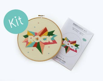 Rock Embroidery Kit, Modern hoop art kit, Embroidery pattern, DIY Embroidery Kit, Hand Embroidery Project, Needle Craft Kit