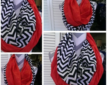 Fall Scarves, Hallowen Scarf, Chevron InfinityScarf, LadiesScarves, ZigZag CowlScarf, Loop Scarf, CircleScarf, Ladies Wear/Clothes/Clothing