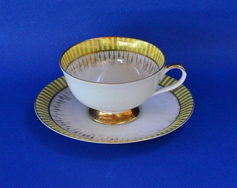 Vintage Franconia-Krautheim Footed Tea Cup and Saucer - K & A Krautheim Selba Bavaria Germany - White and Yellow with Gold Trim