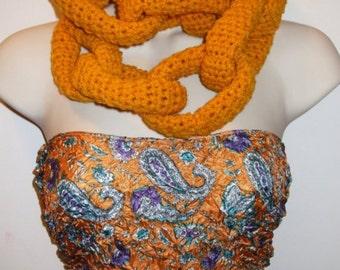 Sweet Gold Chain Crochet Fashion Scarf