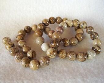 """Naturally Beautiful 15"""" Strand of Natural 8mm Round Brown Jasper Beads"""