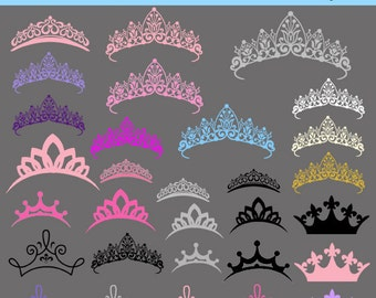 Tiara Princess Clipart Clip Art, INSTANT DOWNLOAD Crown Silhouette Clipart Clip Art , Royal Clipart Personal and Commercial USe