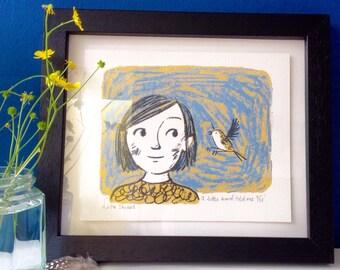 A little bird told me - original screen print wall art