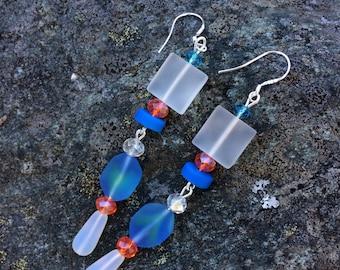 Blue and White Sea Glass Earrings