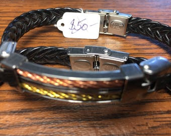 "Men Leather Stainless Steel Bracelet Size 7"""
