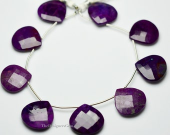 Large Purple Dyed Turquoise Faceted Heart Shape Briolette 21mm -1/2 Strand