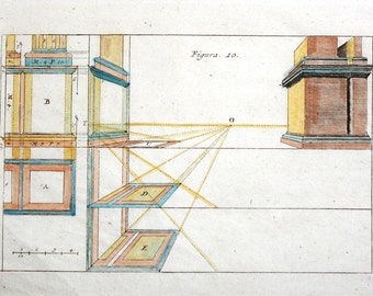 Architectural Perspective Engraving  c. 1708 12 1/2 x 7 3/4 inches