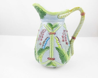 A Majolica Glazed Pitcher - Grey-Blue Base - Lily-of-the-Valley, Rope and Fern Pattern - Intricate Texture - Great Spout - Collectible