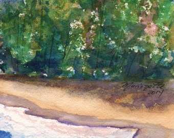 Kauai Seashore 2 peinture aquarelle originale de roches de lave aqua turquoise turquoise Kauai Hawaii bleu