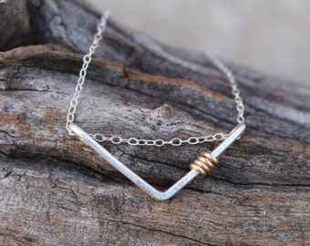 Chevron Necklace,Sterling Silver, Gold Accent, Minimalist, Wire Jewelry
