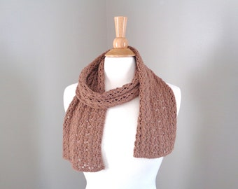 Lacy Knit Scarf, Chestnut Brown, Luxury Natural Fiber Pima Cotton Alpaca Wool, Womens Knit Scarf, Teen Girls Scarf, Short Knit Summer Scarf