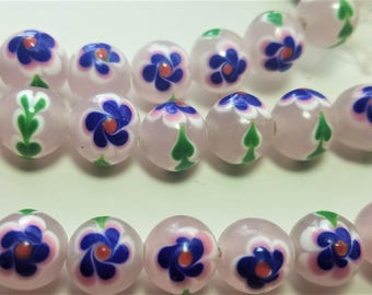 Lampwork floral pink beads, 9-10 mm