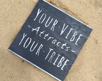 Your Vibe Attracts Your Tribe Wood Sign / Bohemian Decor / Bohemian Wall Art / Hippie Decor / Gypsy Decor / Good Vibes Sign - Navy Blue