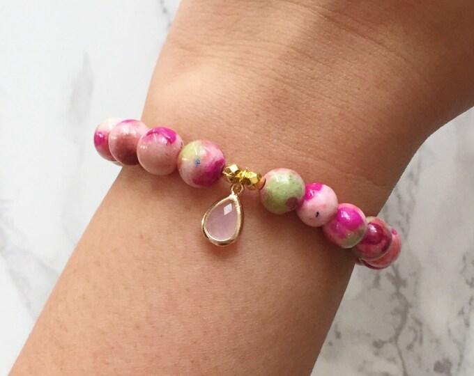 SALE - Watercolor Bracelet Charm Bracelet - Pink & Green Garden
