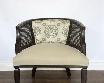 Barrel Chair Cane Back Mid Century Vintage Reupholstered Hollywood Regency  MCM