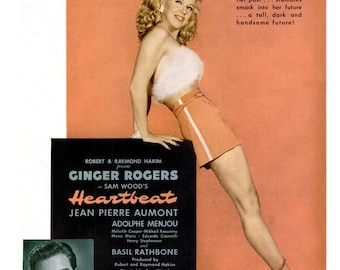 1946 Ginger Rogers Heartbeat Hollywood Movie Poster & Chrysler Corporation Car Ad - Old Hollywood Romance Sexy Pin Up Glamour Paris Wall Art