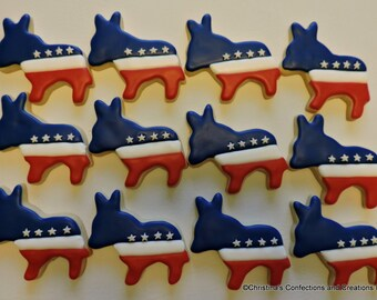 Democratic Donkey Political Decorated Sugar Cookies (#2579)