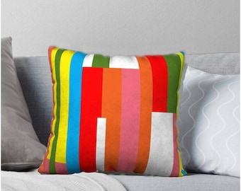 Fruit Stripe Throw Pillow, Multicolored pillow cover, Pillow Cover, Sofa Pillows, Decorative Pillow, Mid-Century Pillows, 1960's