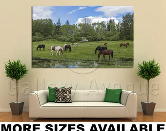 Wall Art Giclee Canvas Picture Print Gallery Wrap Ready to Hang Grazing Horses on a Green Field 60x40 48x32 36x24 24x16 18x12 3.2