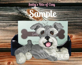 salt and pepper Schnauzer Natural ears Business Card Holder / Iphone / Cell phone / Post it Notes OOAK sculpture by Sally's Bits of Clay