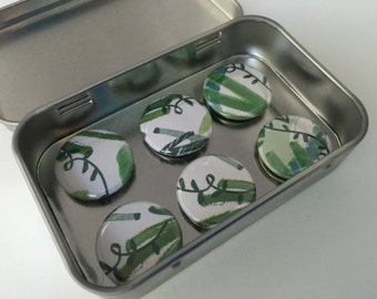 Green and White Jungle Magnets