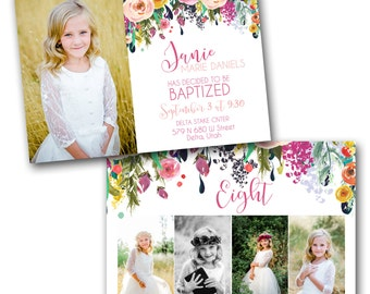 Flowered Baptism Announcement
