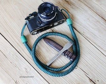 Pure green 12mm Hand knit Chinese knot handmade Camera neck strap