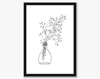 Black and white art etsy a4 print white flowers vase illustration simple black and white art botanical mightylinksfo Choice Image