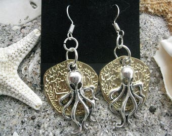 Pirate Octopus Pendant Earrings on Replica Gold Doubloon Coins