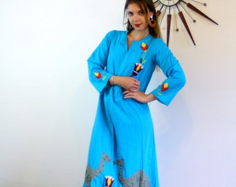 Ethnic Hippie Caftan, Egyptian Folk Art, Camels Egypt, Applique Stitched,Long Festival Dress, 70s blue maxi dress, Embroidered cotton caftan