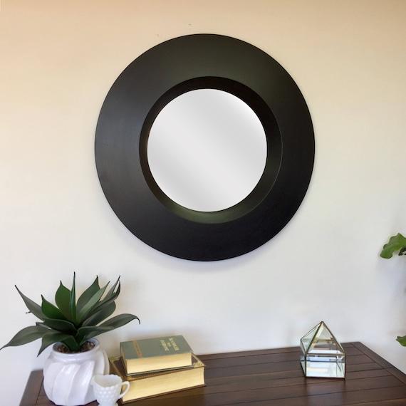 Large Round Mirror - Black Wall Mirror - Modern Mirror - Framed Bathroom Mirror - Large Decorative Mirror - Beveled Edge Mirror