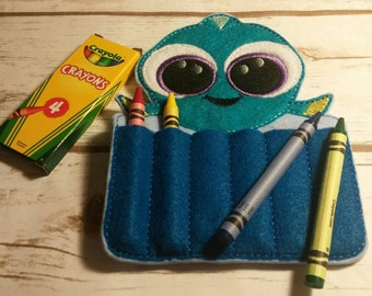 Blue Fish Crayon Holder, Handmade, Crayon Carrier, Crayola, Coloring, Childrens, Creative Toy, Christmas, Art, Finding Dory, Party Favor