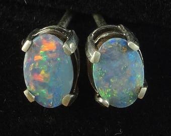 Doublet Opal Earrings in Sterling Silver