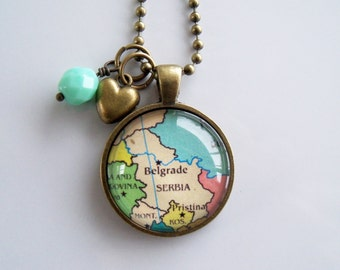 Map of Serbia Necklace - Map Pendant Necklace - Custom Jewelry - Travel Jewelry - Belgrade Serbia - Personalized Jewelry - Gift For Women