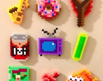 The Simpsons Retro Magnets Perler Bead Pins 8 bit Pixel Art