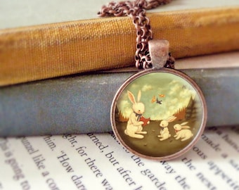 Bunny Necklace, Bunny Pendant, Bunny Jewelry, Bunny Animal Necklace, Rabbit Art, Animal Jewelry, Kids Jewelry Children - The Bunny's Tale