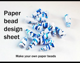 Printable beading sheet. Make your own paper beads. Blue leaves. Paper bead design sheet. Paper beading. Beading project. Bead sheet.