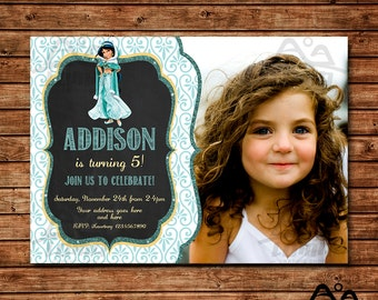 Aladdin Birthday Invitation, Jasmine Birthday, Disney Princess Invitation, Princess Birthday Invitation, Aladdin, Jasmine