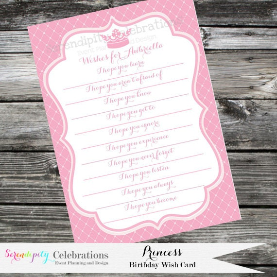Printable Wishes For... Princess Baby Shower 1st Birthday