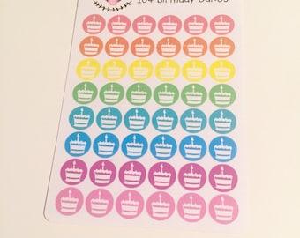 I04 || 48 Birthday Cake Icon Stickers