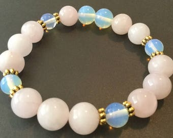 Chakra bracelet Mala beads Zen Meditation Yoga bracelet Rose Quartz Opalite Attract Love Peaceful Calming Boho beads Bohemian Fertility
