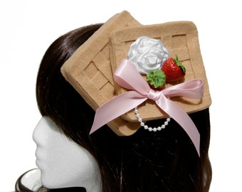 Breakfast Tea Strawberry Waffles and Whipped Cream Barrette - Made to Order