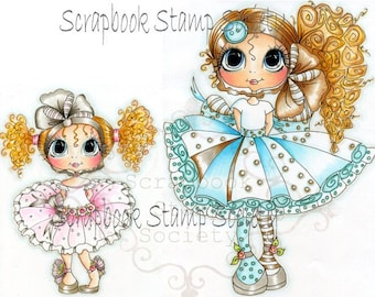 INSTANT DOWNLOAD Digital Digi Stamps Big Eye Big Head Dolls Digi  Sisters By Sherri Baldy