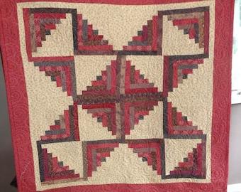 Dark Cherries and Chocolate,Log cabin quilt, scrappy quilt, Decorator quilt 0614-02