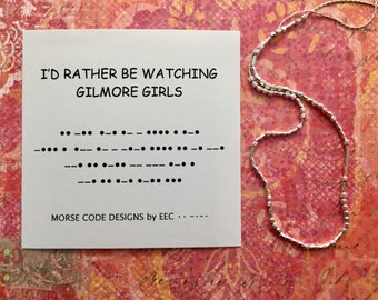 Gilmore Girls Morse Code Necklace, 14k Gold, Sterling Silver, Lorelai, Rory, Secret Code Jewelry, In Omnia Paratus, I'd Rather be Watching