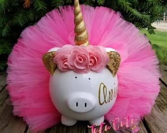 Pink and Gold Unicorn Tutu Piggy Bank, Unicorn Gift, Unicorn Room Decor, Unicorn Party Decor,  Girls Piggy Bank