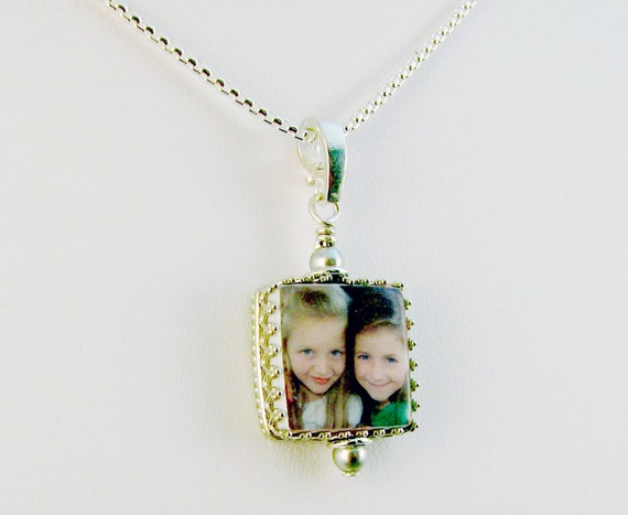 Classic Sterling Framed Photo Charm - Handmade Photo Jewelry- 6mm Thick - FC4CN