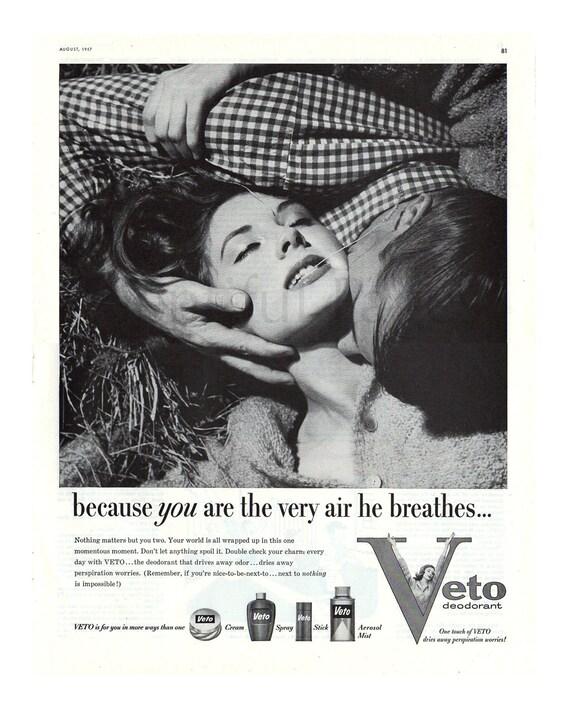 1957 Veto Deodorant Vintage Ad 1950s Beauty Fashion Couple In Love Advertising Art Haystack Retro